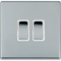 Hamilton 77CR22BC-W Hartland CFX 2 Gang 2 Way 10AX Rocker Switch in Bright Chrome/White