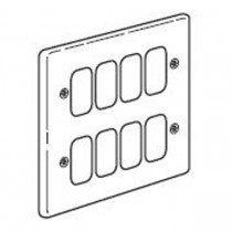 Legrand Synergy 833383, Frontplate, 2x2 Gang 8 Module Small Aperture, Polished Stainless Steel, Size: 146x146mm