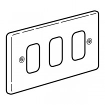 Legrand Synergy 833393 Frontplate, 2 Gang 3 Modules Small Aperture, Polished Stainless Steel, Size: 86x146mm