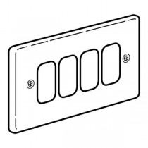 Legrand Synergy 833394 Frontplate, 2 Gang 4 Modules Small Aperture, Polished Stainless Steel, Size: 86x146mm