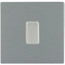 Hamilton Sheer 84CR21SS-W 1 Gang 2 Way 10Ax Rocker Switch in Satin Stee/White