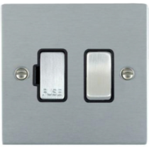Hamilton Sheer 86SPSC/BL 1 Gang Fused Spur Switch in Satin Chrome/Black