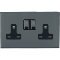 Hamilton Sheer 88CSS2BK-B 2 Gang 13A 2P Screwless Switched Socket in Black Nickel