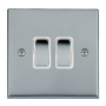 Hamilton Cheriton 95R22BC-W 2 Gang 2 Way 10Ax Rocker Switch in Bright Chrome/White