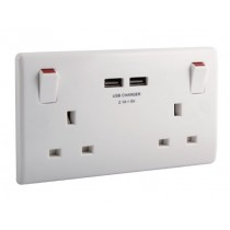 British General 822U3 2 Gang 13A Switched SP Socket with 2 x USB