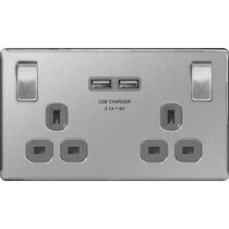 British General FBS22U3G 2 Gang 13A Switched SP Socket with 2 x USB, Screwless Brushed Steel with Grey Inserts