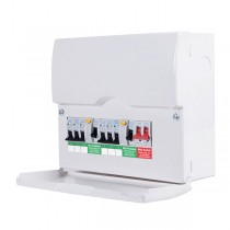 British General CFDP18606 Metal Amendment 3 Dual RCD & High Int Populated 6 Way Consumer Unit with Switch & 6 MCBs, 12 Module