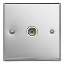 Contactum S3147PCW 1 Gang Non-Isolated Coaxial Socket - Polished Chrome, White Insert