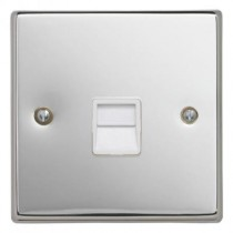 Contactum S3169PCW Telephone Master Socket - Polished Chrome, White Insert