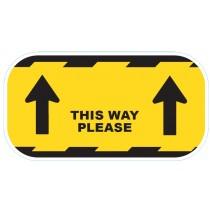 "CVTWY Coronavirus COVID19 ""This Way"" Floor Sticker Yellow 300mm - Buy online or in store from John Cribb & Sons Ltd"