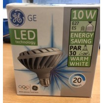 GE Lighting LED-PAR30/830/220-240V/FL/E27 LED 10W E27 PAR30, 24° Warm White