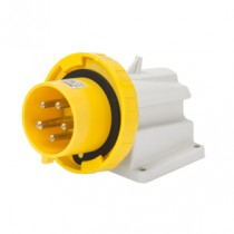 Gewiss GW60434 90° Angled Surface Mounting Appliance Inlet IP67, 2P+E, 32A, 100-130V, 50/60HZ, 4H Screw Wiring, Yellow