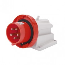 Gewiss GW60441 90° Angled Surface Mounting Appliance Inlet IP67, 3P+E, 32A, 380-415V, 50/60HZ 6H, Screw Wiring, Red