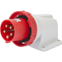 Gewiss GW60460 90° Angled Surface Mounting Appliance Inlet IP67, 3P+E, 125A, 380-415V, 50/60HZ, 6H Mantle Terminal, Red