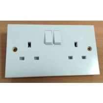 Schneider GSKTSW2G2 Exclusive Switched Socket White Moulded, square profile, 2 gang 13A