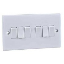 Schneider GU1062 Plate Switch, 6 Gang 2 Way SP Moulded, Size: 16AX