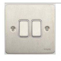 Schneider GU1222WSS Ultimate Flat plate - 2-way plate switch - 2 gangs - stainless steel