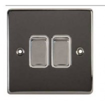 Schneider GU1522WPC Ultimate Low profile - 2-way plate switch - 2 gangs - chrome