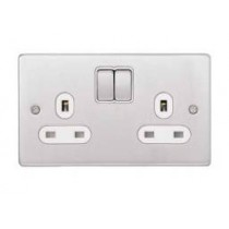 Schneider GU3520WBC Ultimate Low profile - switched socket - 2 gangs - chrome