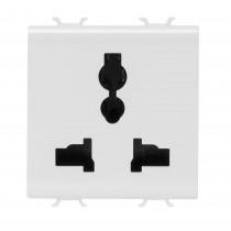 Gewiss GW10310 2P+E - 13 A/250 V ac - 15 A/127V ac - 2 Module Chorus Multistandard Socket in White - Buy online or in store from John Cribb & Sons Ltd