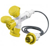 Gewiss GW64050 Socket, 3-Outlet c/w 2M Cable + Plug 2P+E, Watertight, Size: 16A 110V