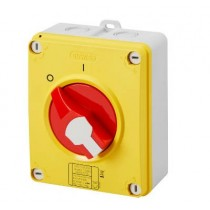 Gewiss GW70438P Switch, Isolator Rotary 4P Emergency IP69, Insulated Box c/w Lockable Knob, Size:	63A 156x200x95mm
