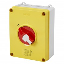Gewiss GW70490P Isolator HP Emergency 80A 4P IP66/67/69 Isolating Material Box with Lockable Red Knob - Buy online or in store from John Cribb & Sons Ltd