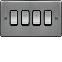 Hager WRPS42BSB 10AX 4 Gang 2 Way Wall Switch Brushed Steel Black Insert