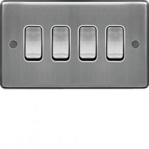 Hager WRPS42BSW 10AX 4 Gang 2 Way Wall Switch Brushed Steel White Insert
