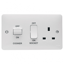Hager Sollysta WMCC50 White Moulded 45A Cooker Control Unit
