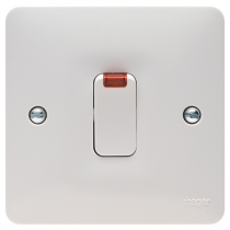 Hager Sollysta WMDP84N White Moulded 20A Double Pole Switch with LED Indicator