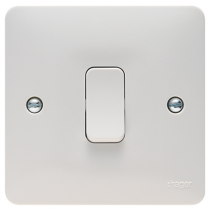 Hager Sollysta WMPS11 White Moulded 10AX 1 Gang 1 Way Wall Switch