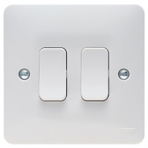 Hager Sollysta WMPS22 White Moulded 10AX 2 Gang 2 Way Wall Switch