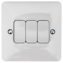 Hager Sollysta WMPS32 White Moulded 10AX 3 Gang 2 Way Wall Switch