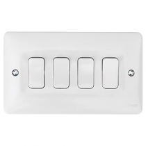 Hager Sollysta WMPS42 White Moulded 10AX 4 Gang 2 Way Wall Switch
