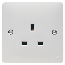 Hager Sollysta WMS81 White Moulded 13A 1 Gang Unswitched Socket