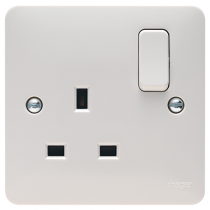 Hager Sollysta WMSS81 White Moulded 1 Gang Double Pole Switched Socket