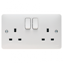 Hager Sollysta WMSS82 White Moulded 2 Gang Double Pole Switched Socket Dual Earth