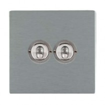 Hamilton Sheer CFX 84CT22 20A 2 Gang 2 Way Toggle Switch Satin Stainless
