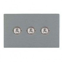 Hamilton Sheer CFX 84CT23 20A 3 Gang 2 Way Toggle Switch Satin Stainless