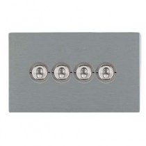 Hamilton Sheer CFX 84CT24 20A 4 Gang 2 Way Toggle Switch Satin Stainless