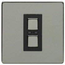 Megaman LightwaveRF JSJSLW400BLK 1 Gang Dimmer, Black Chrome