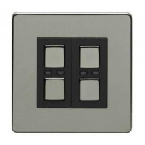 Megaman LightwaveRF JSJSLW420BLK 2 Gang Dimmer, Black Chrome
