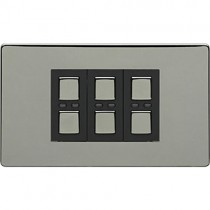 Megaman LightwaveRF JSJSLW430BLK 3 Gang Dimmer, Black Chrome