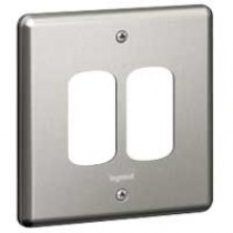 Legrand Synergy 733192 1 Gang 2 Module Grid Plate Brushed Steel