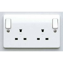 MK Logic K1246WHI 2 Gang 13A Switched DP Non Standard Socket
