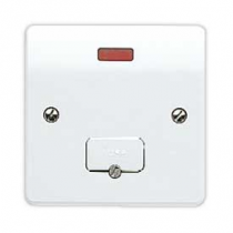 MK Logic K377WHI 13A Fused Neon c/w Base Flex Outlet Connection Unit