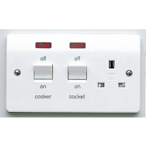 MK Logic K5061WHI Cooker Control Switch, DP Main Switch & Socket c/w Neon, Flush