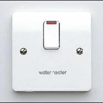 MK Logic K5423WHWHI Switch, DP c/w Neon Base Flex Outlet, Marked Water Heater