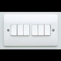 MK Logic K4879WHI Plate Switch, 10A 6 Gang 2 Way SP
